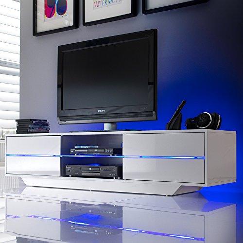 tv lowboard blues m bel media schrank tisch hochglanz lack weiss led beleuchtung m bel24. Black Bedroom Furniture Sets. Home Design Ideas