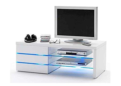 TV-Lowboard TV-Board in Hochglanz weiß, 3 Schubkästen, 2 Böden aus Sicherheits-Glas, inkl. LED-Clip Beleuchtung in blau, Maße: B/H/T ca. 110/44/42 cm