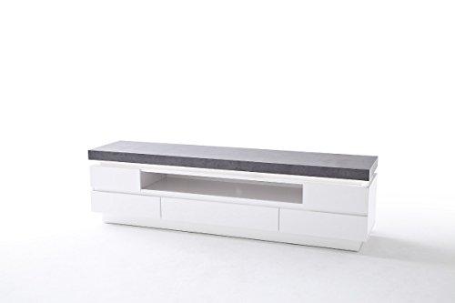 TV Möbel, TV-lowboard, TV-Board, TV-Tisch, Media-Element, TV-Board, Lowboard, weiß mit Beton-Dekor #