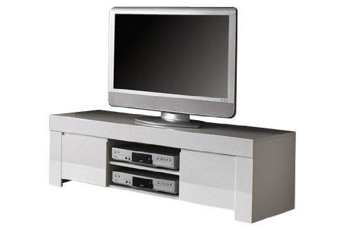 LC spa TV Schrank Amalfi Klein mit 2 Türen, 140 x 45 x 50 cm, weiß Hochglanz