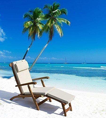 """Teak Deckchair Relaxliege Luxusliege """"Monaco"""" inkl. Auflage Beige"""