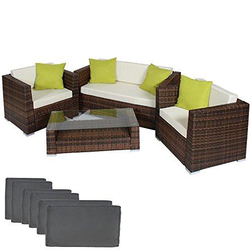 TecTake Hochwertige Alu Luxus Lounge Set Poly-Rattan Sitzgruppe Gartenmöbel mit 2 Bezugsets + 4 extra Kissen mit Edelstahlschrauben -diverse Farben- (Mixed-Braun)