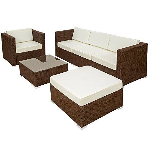 tectake hochwertige luxus lounge poly rattan sitzgruppe sofa rattanm bel gartenm bel diverse. Black Bedroom Furniture Sets. Home Design Ideas