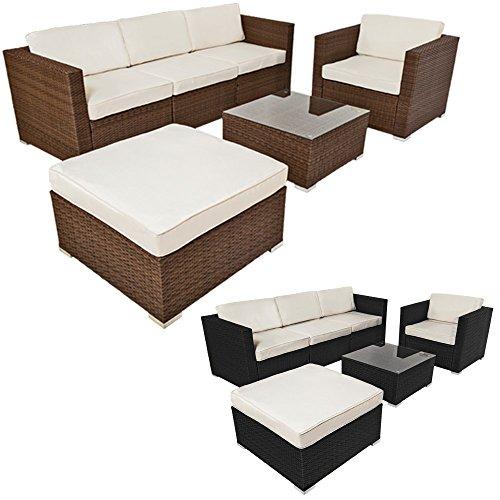 TecTake Hochwertige Luxus Lounge Poly-Rattan Sitzgruppe Sofa Rattanmöbel Gartenmöbel -diverse Farben- (Braun | Nr. 401176)