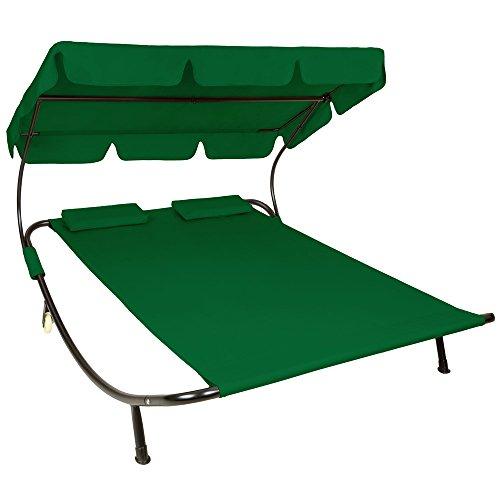 TecTake Sonnenliege Gartenliege Doppelliege mit Sonnendach + 2 Kissen grün für 2 Personen