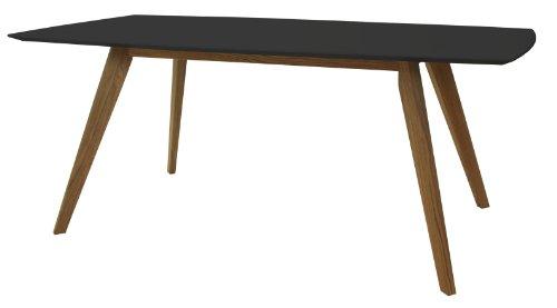 tenzo 2180-024 Bess - Designer Esstisch, schwarz, Tischplatte MDF lackiert, matt, Untergestell Eiche massiv, 75 x 185 x 95 cm (HxBxT)