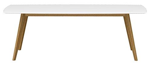 Tenzo 2183-001 Bess Designer Esstisch, Tischplatte MDF lackiert, Matt, 75 x 220 x 95 cm, weiß / eiche