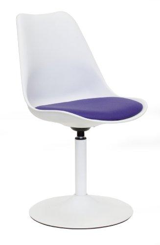 tenzo 3303-440 TEQUILA - Designer Esszimmerstuhl Viva, Kunststoffschale mit Sitzkissen in Lederoptik, Untergestell Metall, pulverbeschichtet, 83 x 49 x 53 cm, weiß/violett