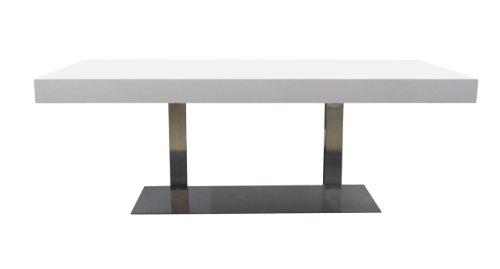 Tenzo 4801-001 Bloc - Designer Esstisch, Tischplatte 12 cm Wabe mit MDF-Beschichtung, Edelstahluntergestell, 77 x 180 x 100 cm, weiß / lackiert matt