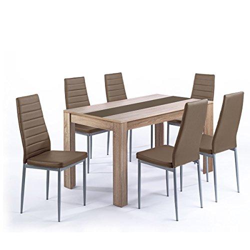 Tischgruppe Pegasus Esszimmer Küche Tisch Sonoma Eiche 6 Stühle in cappuccino