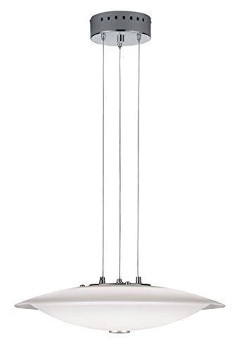 Trio Leuchten LED-Pendelleuchte in chrom, Glas weiß glänzend/klar 327510106