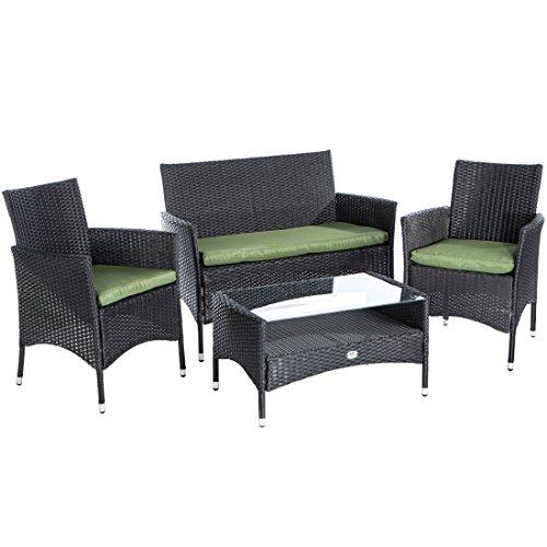 ultranatura rattan set mit glastisch schwarz grn 0 m bel24. Black Bedroom Furniture Sets. Home Design Ideas