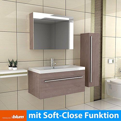 Badmöbel Set mit Waschbecken aus Mineralguss und Unterschrank mit Softclose-Funktion/braun/Modell: Garda 900
