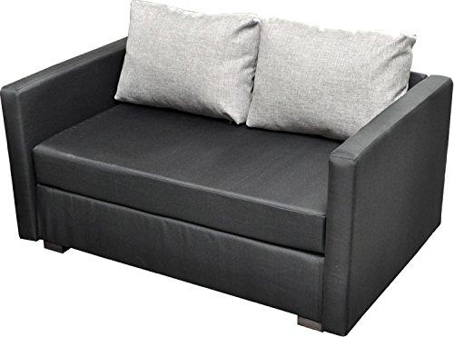 """VCM 2er Schlafsofa Sofabett Couch Sofa mit Schlaffunktion Bettsofa 60x122x78 cm """"Engol Schwarz"""""""