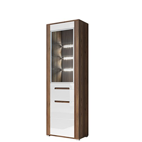 vitrine neapoli vitrinenschrank mit led beleuchtung wei hochglanz m bel24. Black Bedroom Furniture Sets. Home Design Ideas