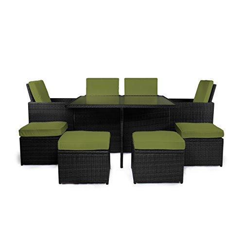 """Vanage Gartenmöbel Set """"Sydney"""" in schwarz grün, Rattan Optik"""