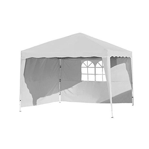 Vanage Pavillon Stella weiß aus Aluminium mit 4 Seitenwänden, 300x300x260cm, Faltpavillon einsetzbar als Gartenpavillon, Party- und Festzelt, Camping- und Festival-Zelt, Gartenmöbel