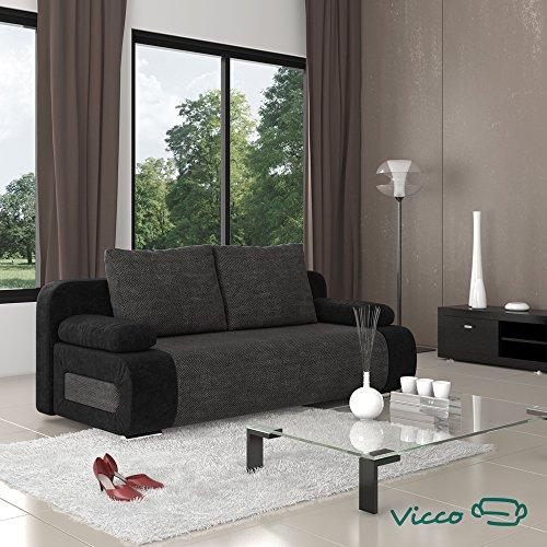 vicco schlafsofa couch sofa ulm federkern 200x91cm mikrofaser struktur schwarz m bel24. Black Bedroom Furniture Sets. Home Design Ideas
