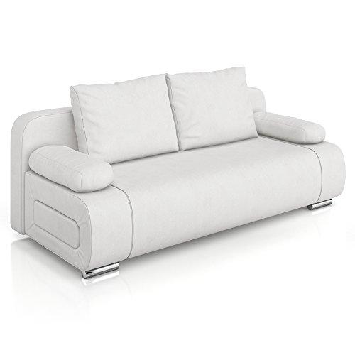 Vicco Schlafsofa Sofa Couch Ulm Federkern 200x91cm PU Leder weiß Gästebett