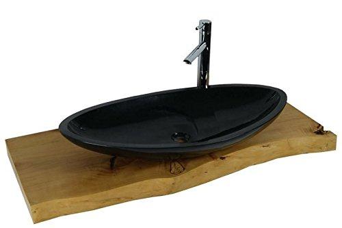waschbecken aus naturstein granit model monaco gro schwarz g684 80x43cm m bel24. Black Bedroom Furniture Sets. Home Design Ideas