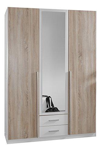 Wimex Kleiderschrank/Drehtürenschrank Skate, 3 Türen, 2 Schubladen, 1 Spiegel, (B/H/T) 135 x 197 x 58 cm, Weiß/Absetzung Eiche Sägerau