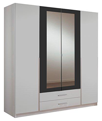 Wimex Kleiderschrank/Drehtürenschrank Skate, 4 Türen, 2 Schubladen, 2 Spiegel, (B/H/T) 180 x 197 x 58 cm, Weiß/Absetzung Anthrazit
