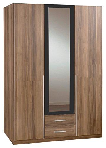 Wimex Kleiderschrank/Drehtürenschrank Skate, 3 Türen, 2 Schubladen, 1 Spiegel, (B/H/T) 135 x 197 x 58 cm, Französisch Nussbaum/Absetzung Anthrazit