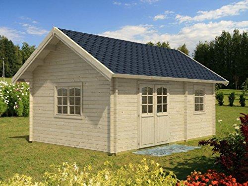 Wochenendhaus Prunus P2 inkl. Fußboden, naturbelassen - 44 mm Blockbohlenhaus, Grundfläche: 21,70 m², Satteldach