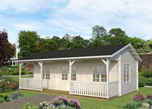 Wochenendhaus Prunus P3 inkl. Fußboden, naturbelassen - 44 mm Blockbohlenhaus, Grundfläche: 25,60 m² mit 11,10 m² Terrasse, Satteldach