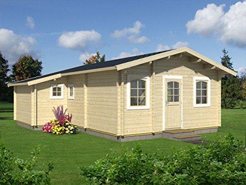 Wochenendhaus Prunus P8 inkl. Fußboden, naturbelassen - 70 mm Blockbohlenhaus, Grundfläche: 39,20 m², Satteldach