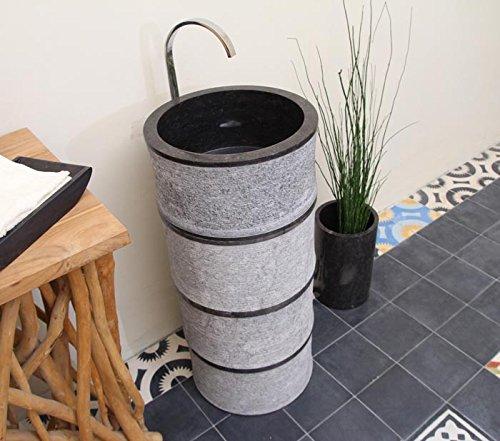 wohnfreuden marmor stand waschbecken bamboo pedestal 40 x 90 cm gro rund schwarz geh mmert. Black Bedroom Furniture Sets. Home Design Ideas