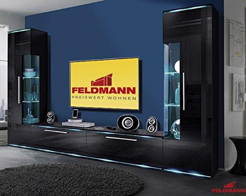 wohnwand 823876 anbauwand wohnzimmer 3 teilig schwarz. Black Bedroom Furniture Sets. Home Design Ideas