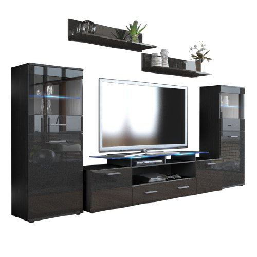 wohnwand almada v2 korpus in schwarz matt front in schwarz metallic hochglanz m bel24. Black Bedroom Furniture Sets. Home Design Ideas