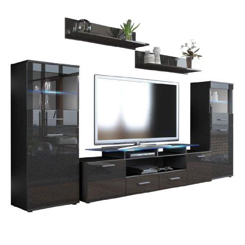 wohnwand almada v2 korpus in schwarz matt front in. Black Bedroom Furniture Sets. Home Design Ideas