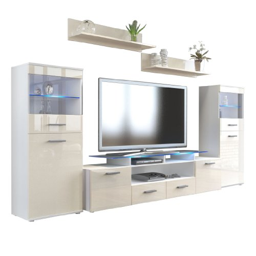 vladon wohnzimmer wohnwand anbauwand schrankwand almada v2 korpus in wei matt front in creme. Black Bedroom Furniture Sets. Home Design Ideas