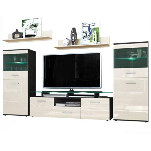 wohnwand almada korpus in schwarz matt front in creme. Black Bedroom Furniture Sets. Home Design Ideas