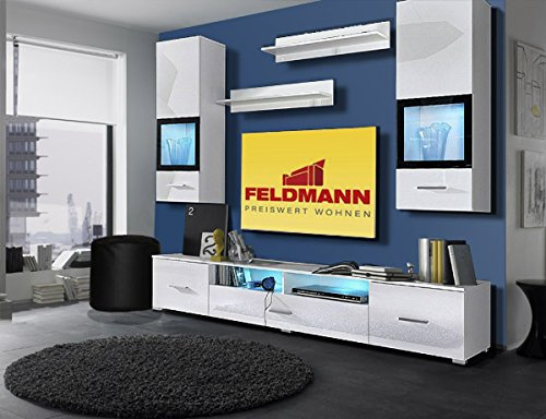 wohnwand anbauwand 657223 5 teilig wei schwarz hochglanz m bel24. Black Bedroom Furniture Sets. Home Design Ideas