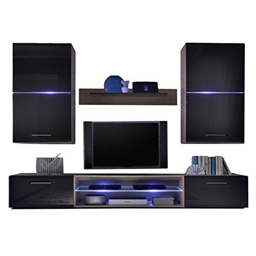 caro m bel wohnwand anbauwand wohnzimmer david in edelbuche und lava hochglanz mit led. Black Bedroom Furniture Sets. Home Design Ideas