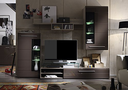 wohnwand beta trend braun hochglanz m bel24. Black Bedroom Furniture Sets. Home Design Ideas
