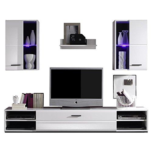 CARO-Möbel Wohnwand Anbauwand NELE in weiß hochglanz und mit LED-Beleuchtung in blau, Maße ca. 200x19x42 cm