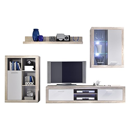 wohnwand schrankwand anbauwand jette sonoma eiche hell wei mit led beleuchtung m bel24. Black Bedroom Furniture Sets. Home Design Ideas