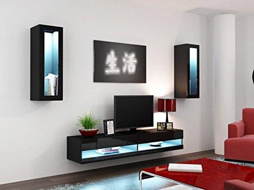 wohnwand vigo new ii hochglanz hngeschrank lowboard glasvitrine farbeschwarz matt schwarz. Black Bedroom Furniture Sets. Home Design Ideas