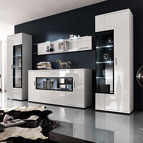 Wohnwand in Hochglanz Weiß Glas (4-teilig) Mit blauer ...