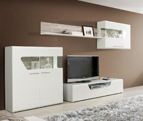 wohnwand weiss mit sandeiche weiss hochglanz m bel24. Black Bedroom Furniture Sets. Home Design Ideas