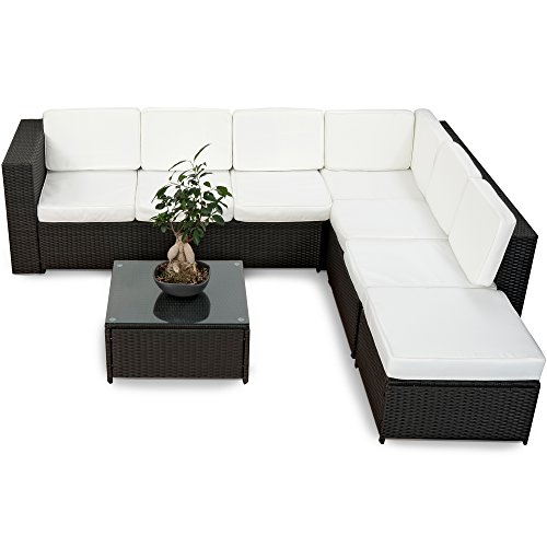 XINRO 19tlg XXXL Polyrattan Gartenmöbel Lounge Sofa günstig - Lounge Möbel Lounge Set Polyrattan Rattan Garnitur Sitzgruppe - In/Outdoor - handgeflochten - mit Kissen - schwarz