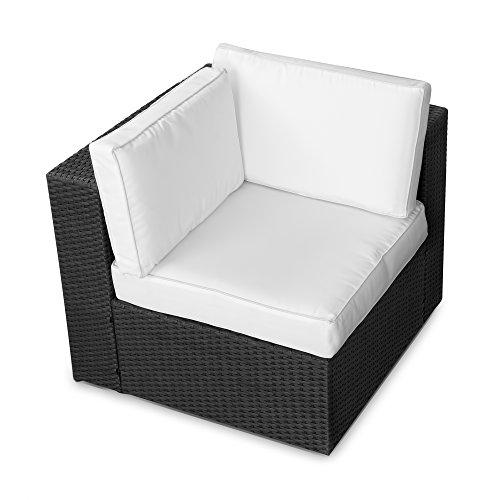 XINRO® 1er Polyrattan Lounge Eck Sessel - Gartenmöbel Ecksessel Rattan - durch Andere Polyrattan Lounge Gartenmöbel Elemente erweiterbar - in/Outdoor - handgeflochten - Schwarz
