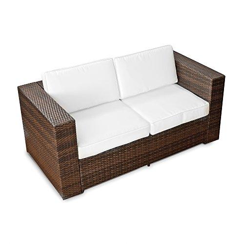 XINRO® 2er Polyrattan Lounge Sofa - Gartenmöbel Couch Bank Rattan - durch Andere Polyrattan Lounge Gartenmöbel Elemente erweiterbar - in/Outdoor - handgeflochten - Braun