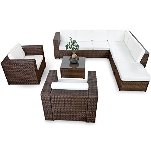 xinro xxxl polyrattan 25tlg lounge set g nstig 2x 1er lounge sessel gartenm bel lounge. Black Bedroom Furniture Sets. Home Design Ideas