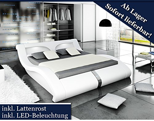 xxl designer bett stilbett led beleuchtung wei 200x200 m bel24. Black Bedroom Furniture Sets. Home Design Ideas
