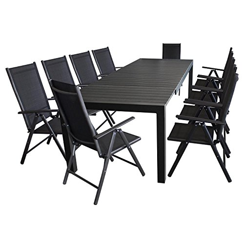 xxl gartengarnitur aluminium polywood ausziehtisch 224 284 344x100cm f r bis 12 personen. Black Bedroom Furniture Sets. Home Design Ideas